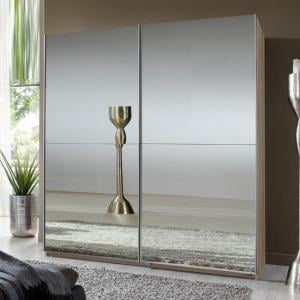 Quest Robe Sliding Wardrobe With Oak Frame And 2 Mirrored Doors