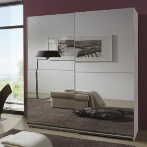 Quest Robe Sliding Wardrobe And Two Full Mirrors In White Wood_1