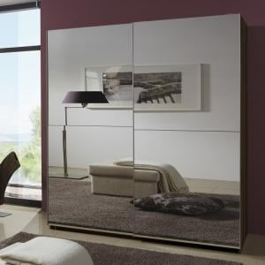 Quest Mirrored Sliding Wardrobe Large In Walnut With 2 Doors