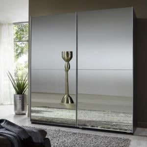 Quest Mirrored Sliding Wardrobe Small In Lava With 2 Doors
