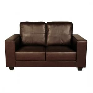 Queensland 2 Seater Sofa In Brown Faux Leather