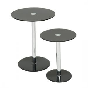 Roma Glass Nest Of Tables in Black