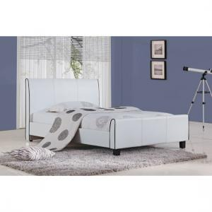 Ravenna White PU Faux Leather King Size Bed