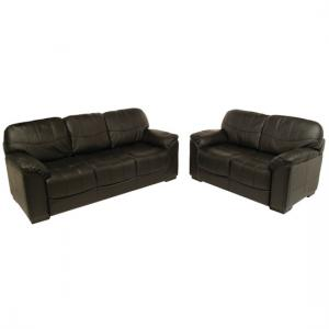 Rebecca 3+2 Seater Black Leather Sofa Set