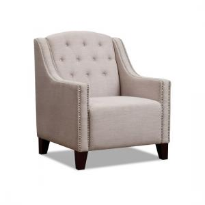 Wilton Armchair In Beige Fabric With Dark Wooden Legs