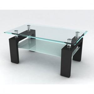 Reno Coffee Table In Clear Glass Top With Black Gloss Legs