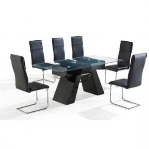 Reno High Gloss Black Clear Glass Top Dining Table And 6 Chairs