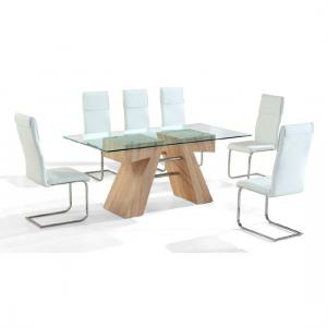 Reno Wooden Finish Clear Glass Top Dining Table And 6 Chairs