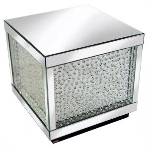 Rosalie Side Table Large In Silver With Glass And Crystals