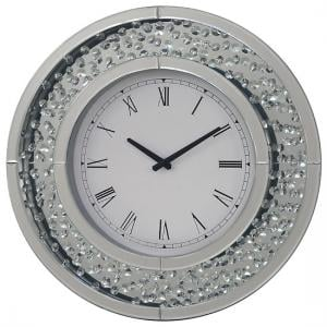 Rosalie Wall Clock Round In Mirrored Glass With Crystals Border