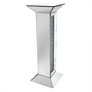 Rosalie Pedestal In Silver With Mirrored Glass and Crystals