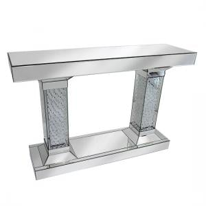 Rosalie Pedestals Console Table In Mirrored Silver With Crystals