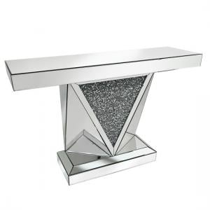 Siloth Mirror Console Table In Silver With Glass Crystals