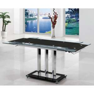 Rihanna Extending Dining Table In Black Glass
