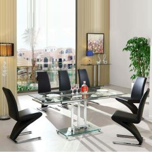 Rihanna Extending Glass Dining Table With 6 Demi Black Chairs