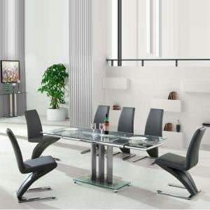 Rihanna Extending Glass Dining Table With 6 Demi Grey Chairs