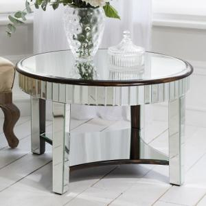 Harvard Mirrored Coffee Table With Bronze Base And Shelf