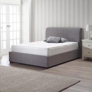 Newton Storage Double Bed In Grey Linen Fabric