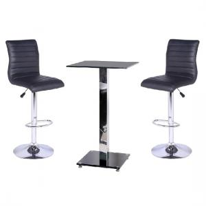 Spice Glass Bar Table With 2 Ripple Bar Stools In Black