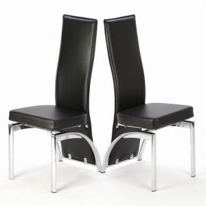 Romeo Black Dining Chairs With Chrome Legs In Pair