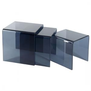 Solitaire Nest Of Tables In Grey Glass