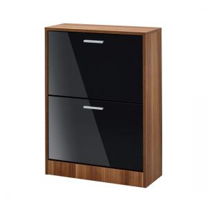 Frances Shoe Cabinet In Walnut With Gloss Black 2 Doors