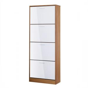 Frances Tall Shoe Cabinet In Walnut Gloss White With 4 Doors
