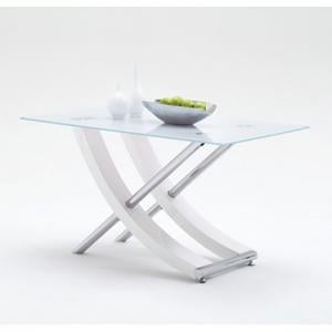 Samova Glass Dining Table In White High Gloss And Chrome Legs