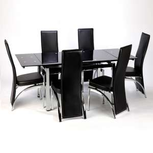 Sarah Extending Glass Dining Table With 6 Romeo Dining Chairs