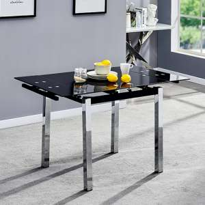 Paris Extending Black Glass Dining Table With Chrome Legs