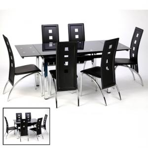 Sarah Glass Extendable Dining Table In Black With Chrome Legs