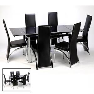Sarah Extending Dining Table And Chairs In Black