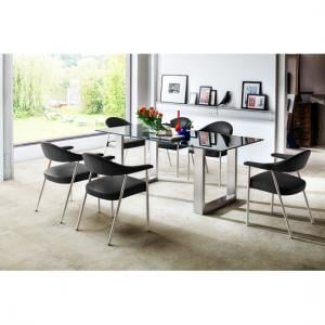 Sayona Glass Dining Table Wide In Grey With 8 Aurelia Chairs