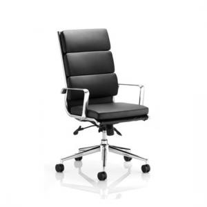 Savoy Office Chair In Black Bonded Leather With Castors