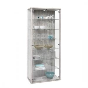 Neptune Tall Glass Display Stand In Sand Oak With LED Lights