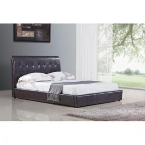 Seina Brown PU Faux Leather Double Bed