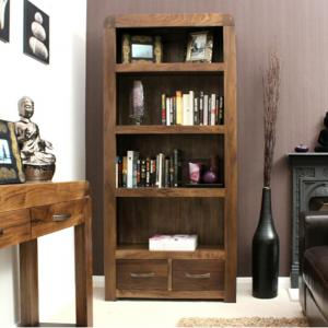 Shiva Walnut Large 2 Drawer Bookcase