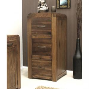 Shiva Walnut 3 Drawer Filing Cabinet
