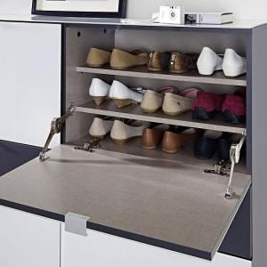 Alameda Shoe Cabinet In Anthracite And White Glass Front_5