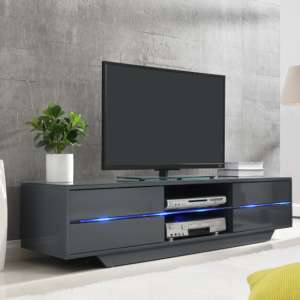 Sienna TV Stand In Grey High Gloss With Multi LED Lighting