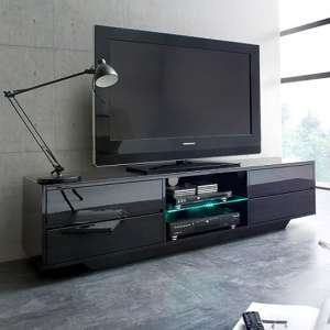 Sienna TV Stand In Black High Gloss With Multi LED Lighting