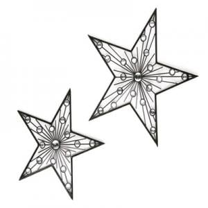 Silver Jewelled Wall Stars