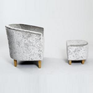 Brisk Tub Chair With Stool In Crushed Velvet Silver_3