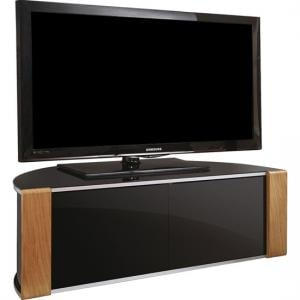 Sinter Corner TV Stand In High Gloss Piano Black With 2 Door