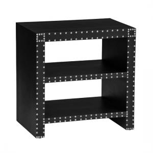 Aurich Side Table In Black Leather Effect With 2 Shelf