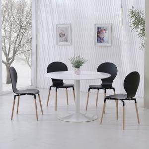 Snowdon Dining Table White Gloss Top And 4 Napoli Black Chairs
