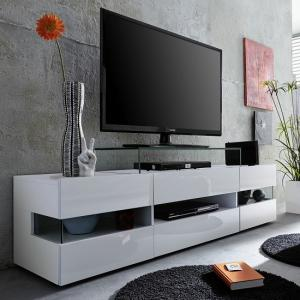 Kirsten TV Stand In White With Gloss Fronts And LED_6