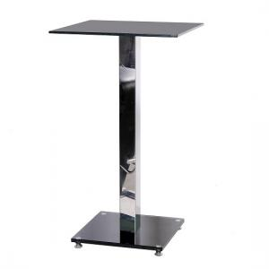 Spice Bar Table Square In Black Glass With Chrome Pole