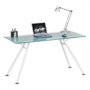 Harbour Glass Computer Desk In Frosted And Clear