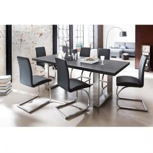 Savona Dining Table In Anthracite And 6 Maui Dining Chairs